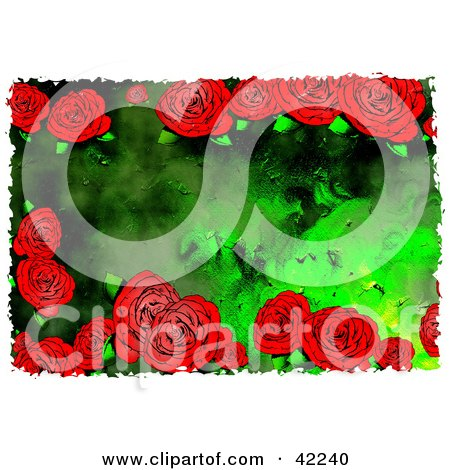 Background Of Grungy Red Roses on Green Posters, Art Prints