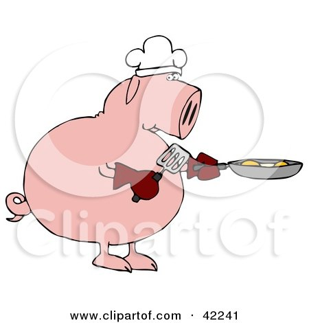 Clipart Illustration of a Breakfast Chef Pig Cooking Eggs in a Pan by djart