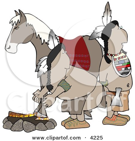 Alert Indians Standing Beside a Campfire and Horse Clipart by djart