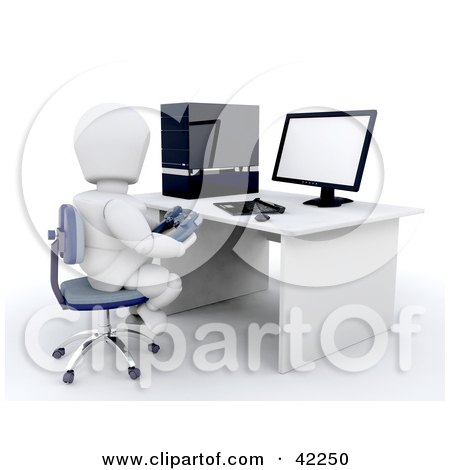 Clipart Illustration of a 3d White Character Gamer Sitting At A Computer Desk by KJ Pargeter