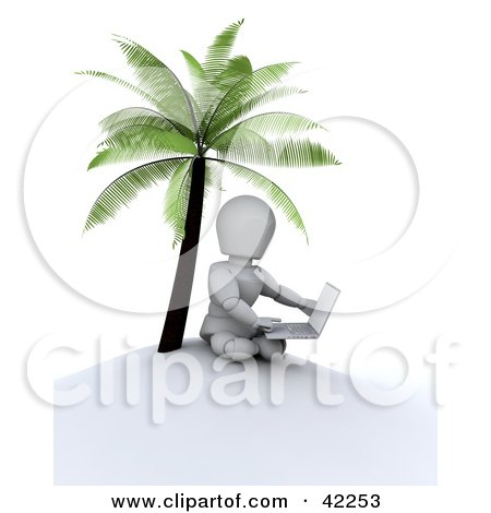 Clipart Illustration of a 3d White Character Using A Laptop On A Deserted Island by KJ Pargeter