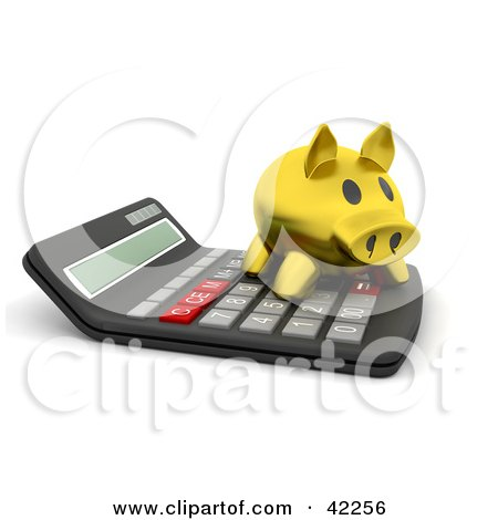 Clipart Illustration of a 3d Gold Piggy Bank On Top Of A Calculator by KJ Pargeter