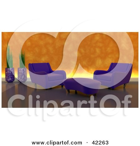 Clipart Illustration of a Purple Chairs And An Ottoman In A Modern Living Room With An Illuminated Orange Wall by KJ Pargeter
