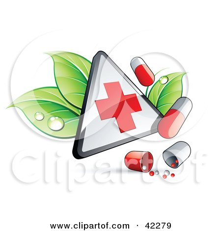 Clipart Illustration of a Triangular Hospital Sign With Leaves And Pills by beboy