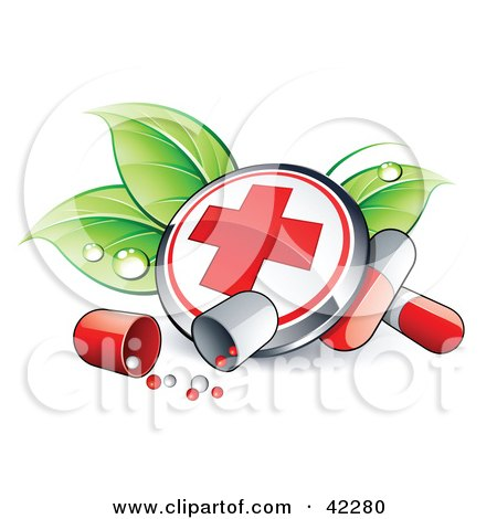 First Aid Button On Dewy Leaves With Pills Posters, Art Prints