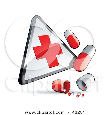 First Aid Sign With Pill Capsules Posters, Art Prints