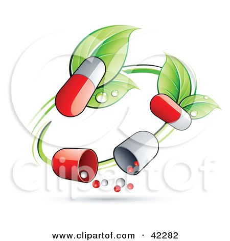 Green Circle Vine With Pill Capsules Posters, Art Prints