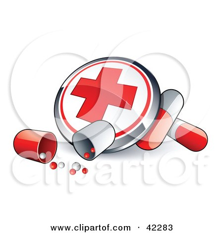 Clipart Illustration of a First Aid Button With Pill Capsules by beboy