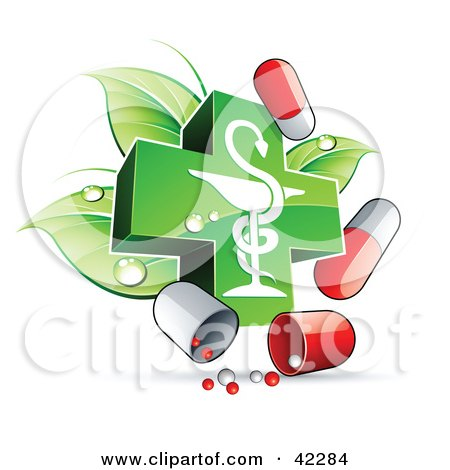 Clipart Illustration of a Green Caduceus With Dewy Leaves And Pill Capsules by beboy