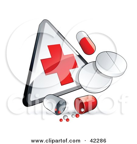 Pills And Capsules With A First Aid Sign Posters, Art Prints