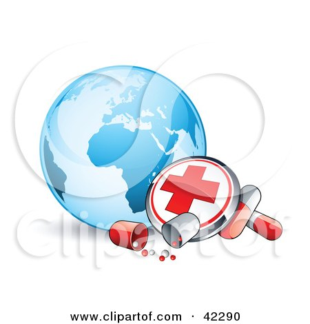 Clipart Illustration of a First Aid Button And Pills In Front Of A Blue Globe by beboy