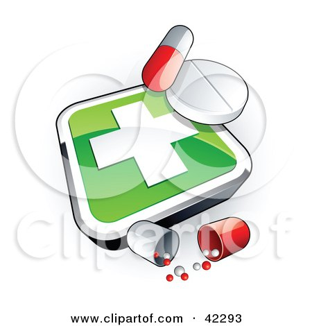 Clipart Illustration of a Green Cross Sign With Pills by beboy