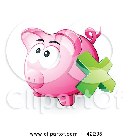 Clipart Illustration of a Green X Mark Over A Pink Piggy Bank by beboy