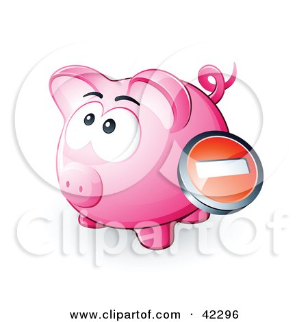 Clipart Illustration of a Negative Button Over A Pink Piggy Bank by beboy