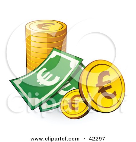 Clipart Illustration of a Dollar Bill With A Stack Of Euro Coins by beboy
