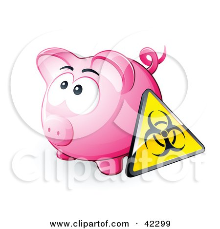 Clipart Illustration of a Biohazard Sign Resting Against A Pink Piggy Bank by beboy