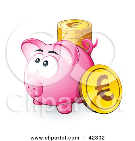 Clipart Illustration of a Pink Piggy Bank With A Stack Of Euro Coins by beboy