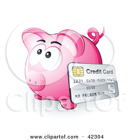 Clipart Illustration of a Credit Card Resting Against A Pink Piggy Bank by beboy