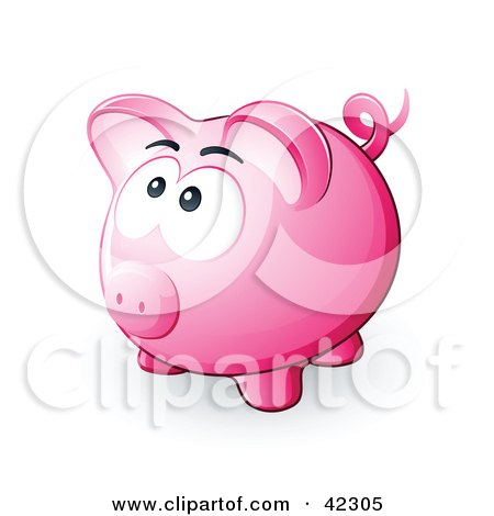 Clipart Illustration of a Nervous Pink Piggy Bank Looking Upwards by beboy