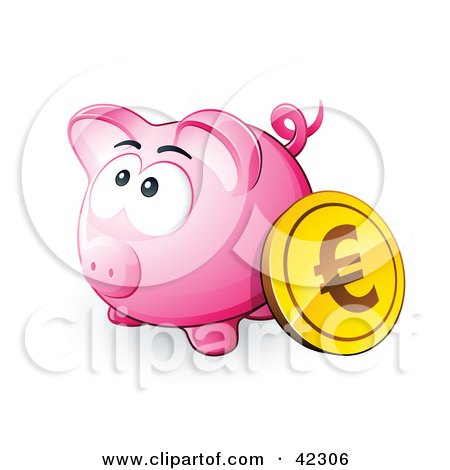 Clipart Illustration of a Gold Euro Coin Resting Against A Pink Piggy Bank by beboy