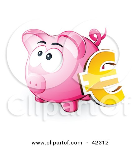 Clipart Illustration of a Yellow Euro Symbol Resting Against A Pink Piggy Bank by beboy