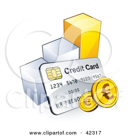 Clipart Illustration of a Credit Card With Euro Coins, Resting Against A Bar Graph by beboy