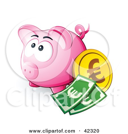 Clipart Illustration of a Pink Piggy Bank With Cash And A Euro Coin by beboy