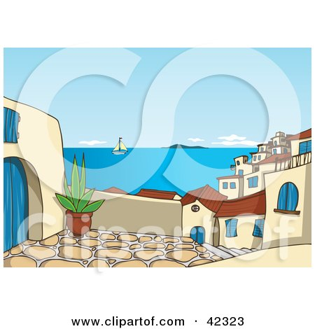 Clipart Illustration of a Patio View With A View Of A Sailboat On The Sea And Roofs Of A Greek Village by Holger Bogen