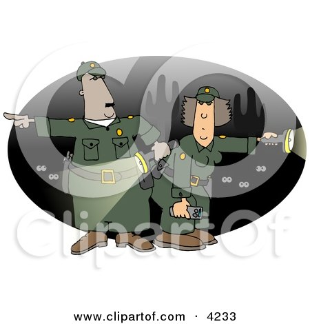 Male and Female Mexican Border Patrol Police Officers Looking For Illegal Immigrants Crossing the US Border at Night Posters, Art Prints