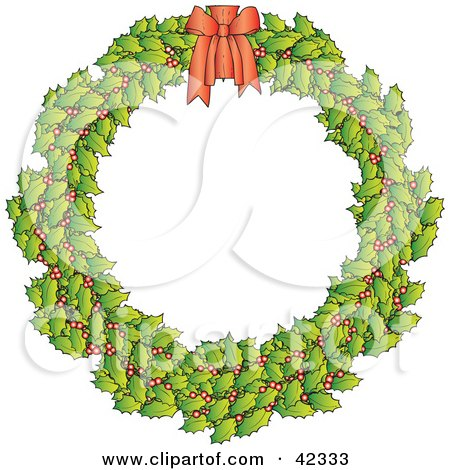 Clipart Illustration of a Holly Christmas Wreath With A Red Bow by Snowy