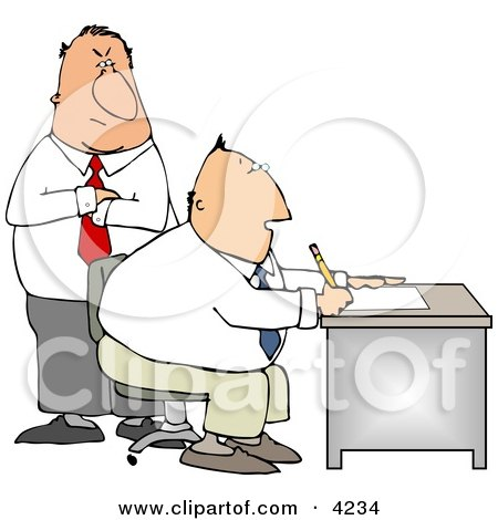 Boss Looking Over Employee's Shoulder as He Works at His Desk in His Office Clipart by djart