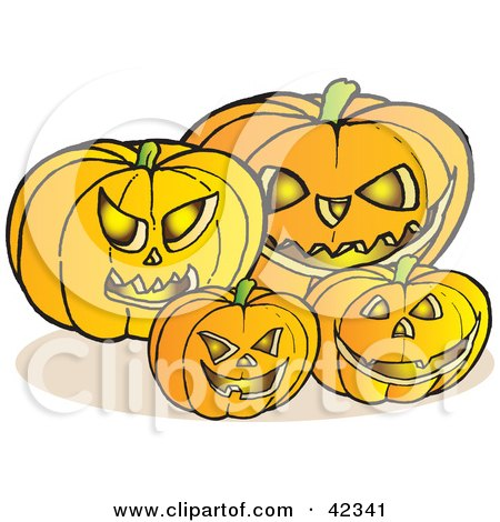 Clipart Illustration of Glowing Carved Halloween Pumpkins With Fangs And Evil Eyes by Snowy