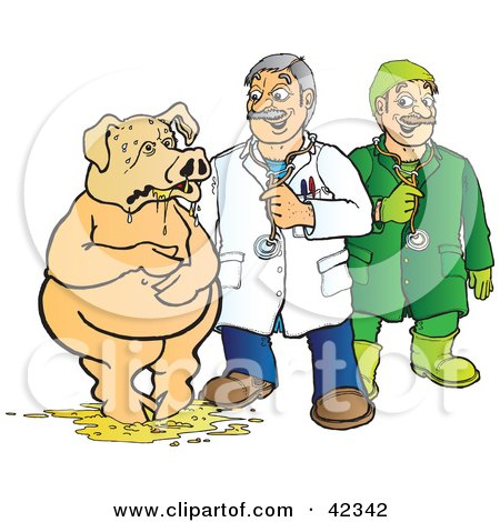 Clipart Illustration of a Veterinarian And Doctor Assisting A Pig Covered In Puke by Snowy