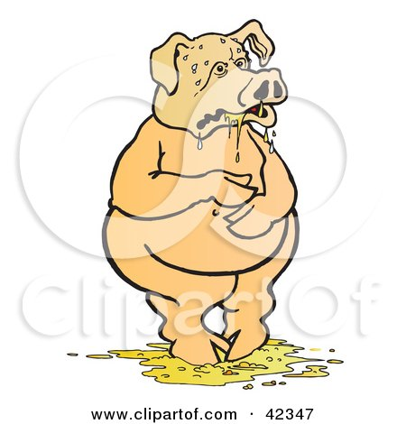 Clipart Illustration of a Nauseated Pig Standing In Puke by Snowy