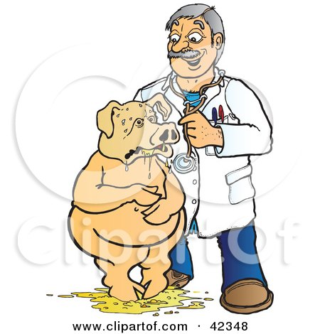 Clipart Illustration of a Friendly Male Doctor Assisting A Pig After Puking by Snowy