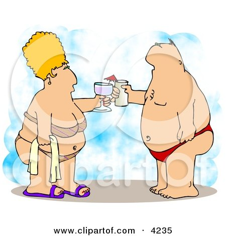 Obese Husband and Wife Vacationing at the Beach Posters, Art Prints