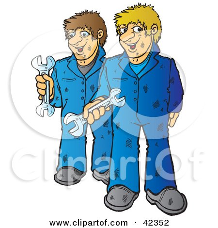 Clipart Illustration of Two Friendly Mechanics Holding Wrenches by Snowy