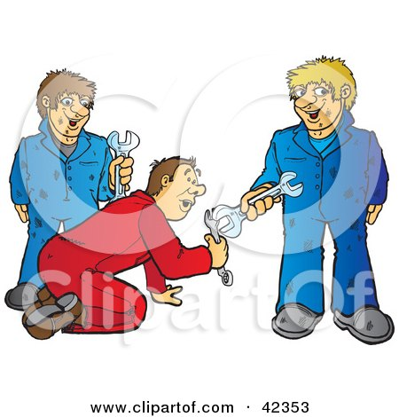 Clipart Illustration of a Team Of Three Male Mechanics With Wrenches by Snowy