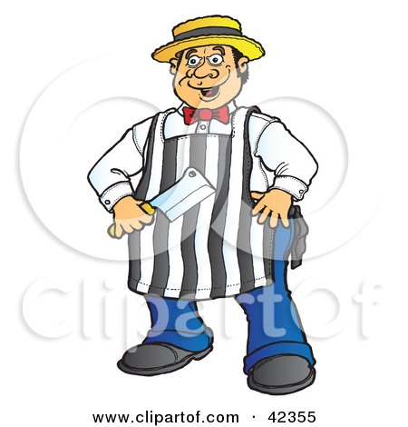 Clipart Illustration of an Energetic Male Butcher Standing With His Knife by Snowy