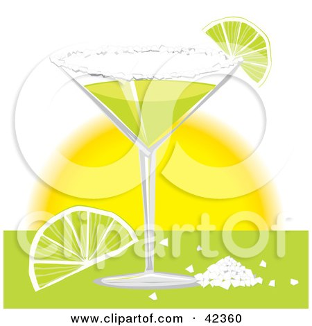 Clipart Illustration of a Margarita Served With Salt And Lime Slices by suzib_100