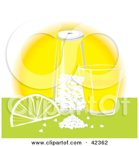 Clipart Illustration of a Tequila Shot Glass With Salt And A Lime On A Counter by suzib_100