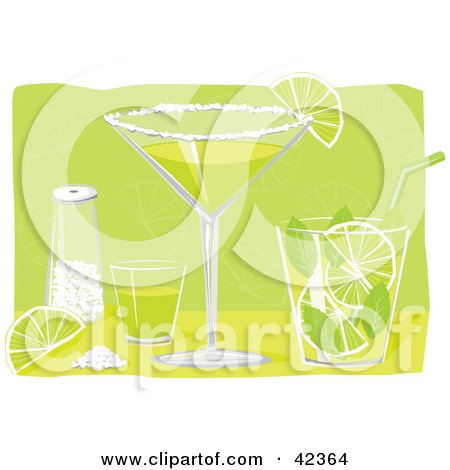 Clipart Illustration of a Shot Glass, Salt, Lime, Margarita And Mojito On A Bar by suzib_100