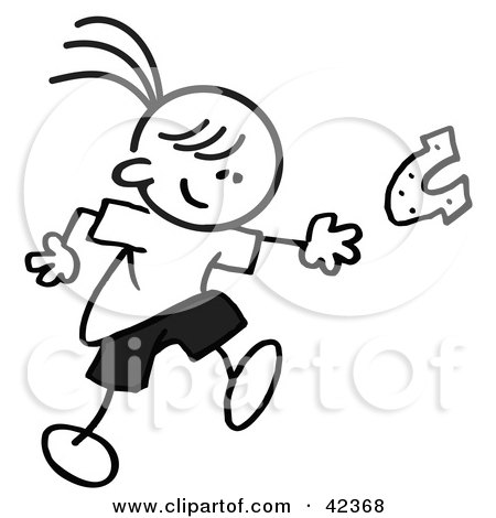 Clipart Illustration of a Black And White Stick Girl Throwing Horse Shoes by Johnny Sajem