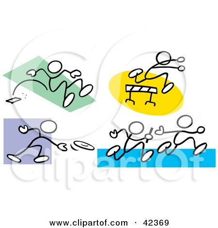 Clipart Illustration of Stick Figures Doing The Long Jump, Leaping Over Hurdles, Tossing A Discus And Running A Relay by Johnny Sajem