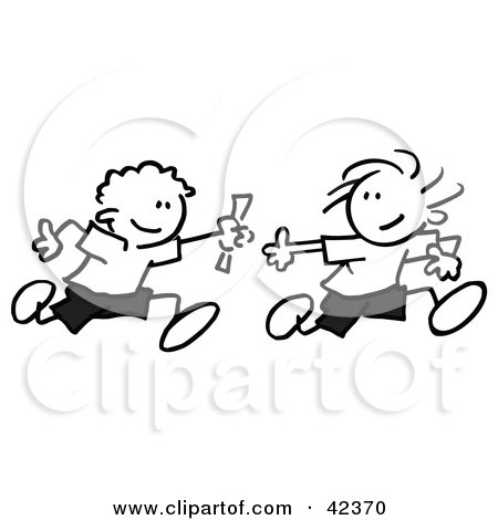 Black And White Stick Boys Running A Relay Race And Passing A Baton Posters, Art Prints
