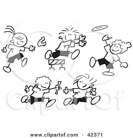 Clipart Illustration of Black And White Stick Children Throwing Horse Shoes, Playing Frisbee, Jumping Hurdles And Running A Relay Race by Johnny Sajem