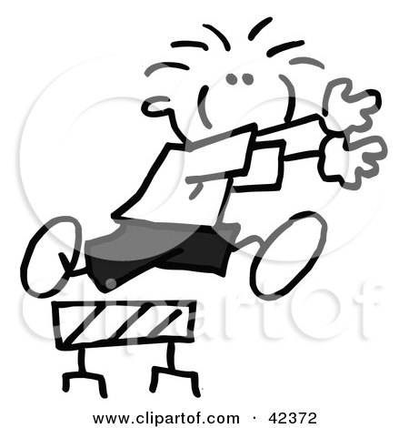 Clipart Illustration of a Black And White Stick Boy Jumping Over A Hurdle by Johnny Sajem
