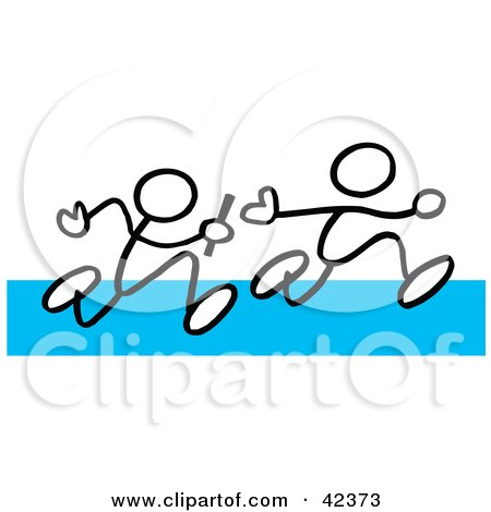 Two Stick Figures Passing A Baton During A Relay On A Blue Track Posters, Art Prints