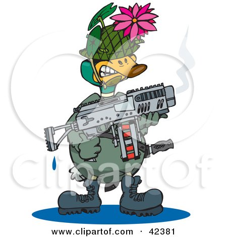 Clipart Illustration of a Military Soldier Duck Holding A Weapon And Wearing A Lotus Disguise by Dennis Holmes Designs