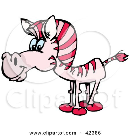 Clipart Illustration of a Curious Pink Zebra by Dennis Holmes Designs